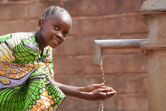 Water symbol of African Black Girl Kid Child Washing and Drinking