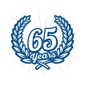 65 years anniversary celebration with laurel wreath. Sixty fifth anniversary logo. Vector and illustration.