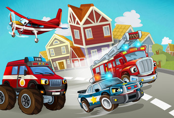 Wall Murals Cars cartoon scene with fireman vehicle on the road with police car - illustration for children