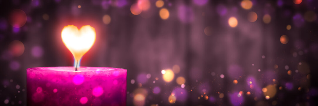 Pink Candle With Heart Shaped Flame And Bokeh Lights On Wooden Background - Valentine's Day Concept
