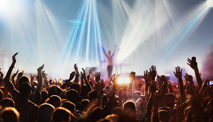 crowd with raised hands at concert festival banner Fotomurales