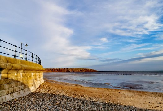 Stylised photo of Filey beach in North Yorkshire.