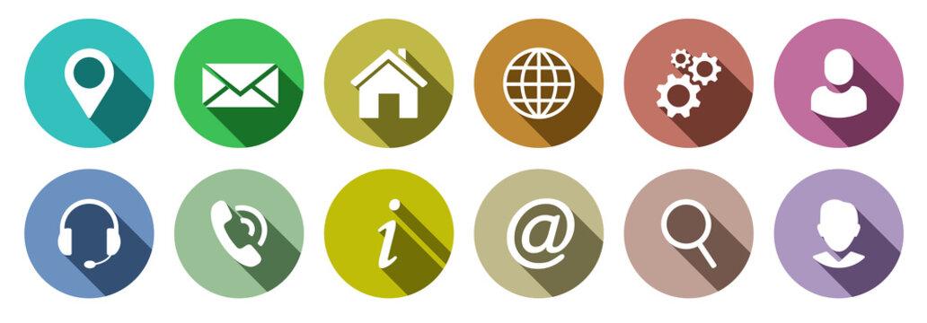 Set of colorful communication web icons