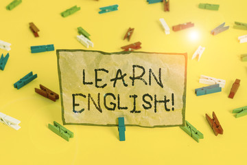 Handwriting text writing Learn English. Conceptual photo gain acquire knowledge in new language by...