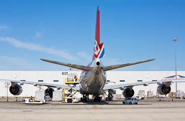 Chicago, USA - October 14, 2019: A Cargolux Boeing 747-800 on the ground at O'Hare International Airport.