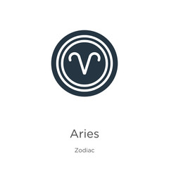 Aries icon vector. Trendy flat aries icon from zodiac collection isolated on white background. Vector illustration can be used for web and mobile graphic design, logo, eps10