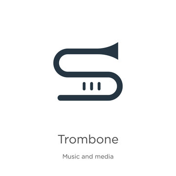 Trombone icon vector. Trendy flat trombone icon from music collection isolated on white background. Vector illustration can be used for web and mobile graphic design, logo, eps10