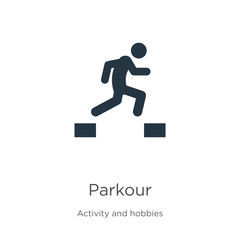 Parkour icon vector. Trendy flat parkour icon from activities collection isolated on white background. Vector illustration can be used for web and mobile graphic design, logo, eps10