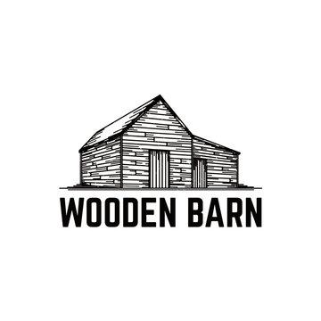 Old Wooden Barn Vector Illustration