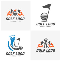 Set of Golf logo design vector template, Vector label of golf, Logo of golf championship, illustration, Creative icon, design concept