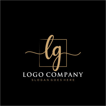LG Initial handwriting logo vector