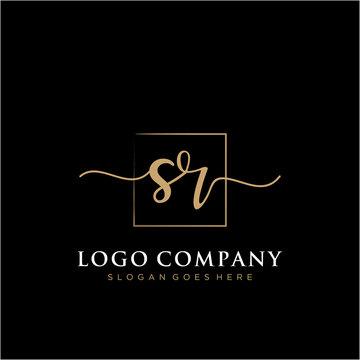 SR Initial handwriting logo vector