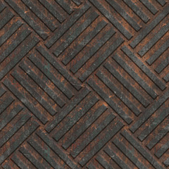 Rusty seamless texture with geometric pattern on a oxide metallic background, 3d illustration