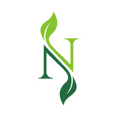 letter N with leaf concepts N logo template letter N icon nature logo template