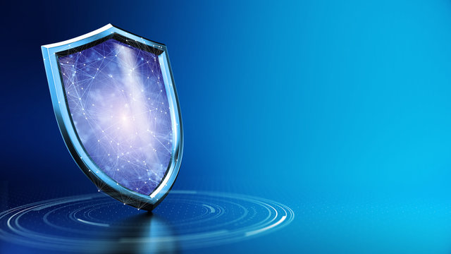 Security Shield concept, data protection. Shield with dots and lines connection on blue background. - 3d illustration