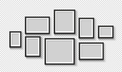 Black photo frame on wall. Square frame set. Blank pictures. Vector decoration element. 3D poster with shadow for presentations