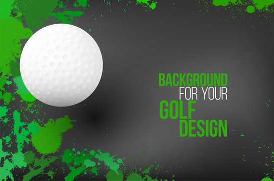 Background with colorful splashes and golf ball