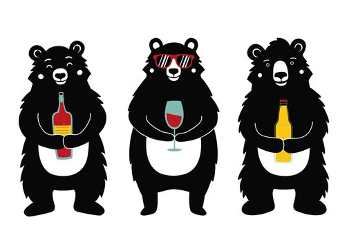 Vector illustration with bears holding drinks - wine bottle, red wine glass and beer.