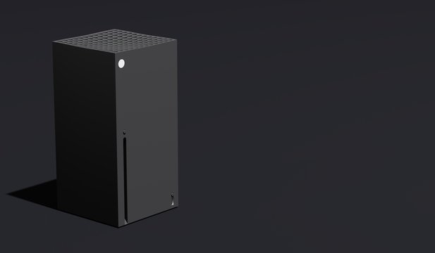 Anapa, Russian Federation - December 14, 2019 Year: Xbox Series X home video game console by Microsoft. 3d render. Copy space