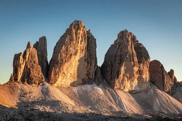 Wall Mural - Stunning view to Tre Cime di Lavaredo at sunset, Dolomites