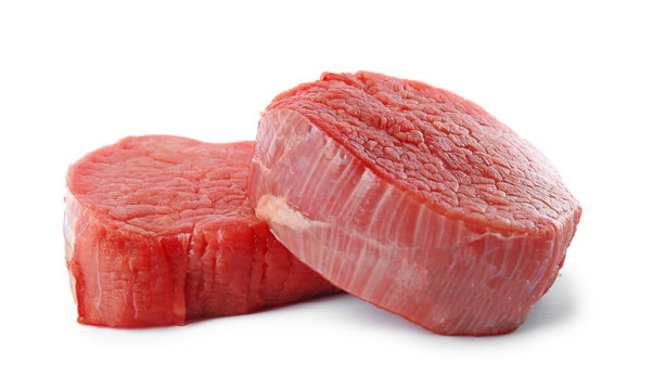 Fresh raw beef cut isolated on white