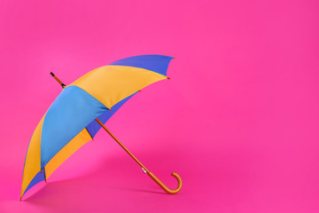 Wall Mural - Colorful umbrella on pink background. Space for text