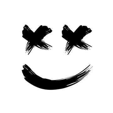 grunge black abstract textured vector smile. Vector design element. Vector abstract face paintbrush. Vintage vector shape. Marshmello