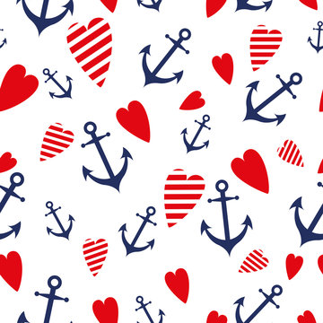 Sea marine seamless patterns anchor heart blue red sea trip backgrounds.