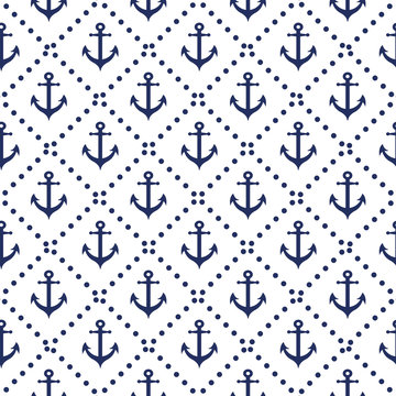 Seamless nautical pattern with diagonal lines anchor colors navy background.
