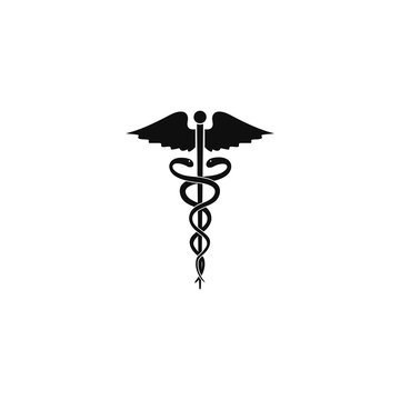 Caduceus black isolated vector icon. Symbol of medicine icon. snakes and wings caduceus vector medical logo.