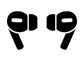 A pair of wireless earbud headphones flat vector icon for apps and websites Fotobehang