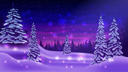 Printed roller blinds Dark blue Winter landscape with snow-covered pines, snowdrifts, blue and purple starry sky and pine forest on horizon