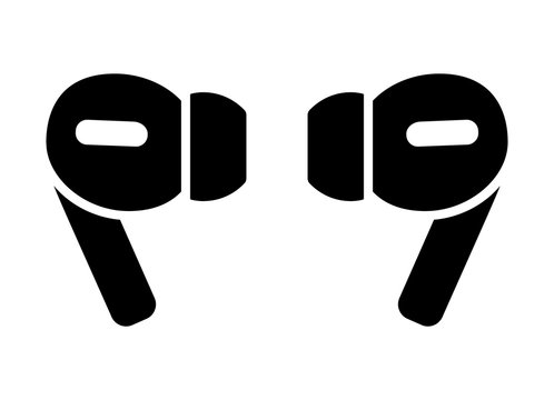 A pair of wireless earbud headphones flat vector icon for apps and websites