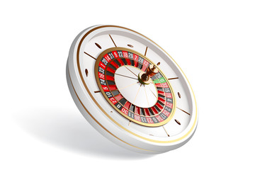 Vector luxury casino roulette wheel isolated on white background. 3d realistic casino roulette illustration. Online casino roulette gambling concept design.