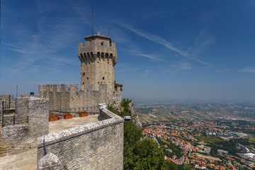 SAN MARINO / SAN MARINO - JULY 2015: View point on Inner walls of one of San Marino castles, good for tourists Wall mural