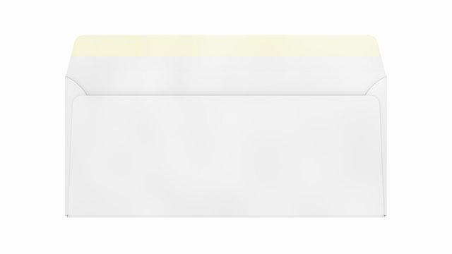 Empty Open US Envelope #10 MockUp. 3D Illustration Isolated on White Background Close-Up.