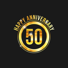 50 year anniversary gold label vector image