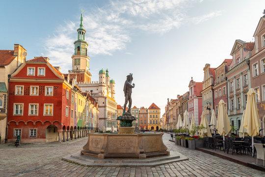 Main Market city square (Stare Miasto) of Poznan, Poland,