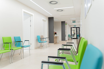Esthetic and clean modern private clinic or vet waiting room