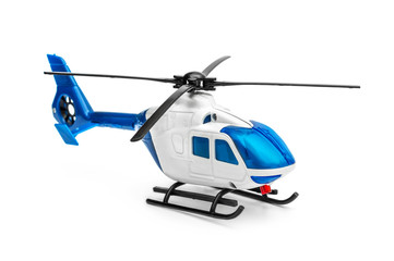 Foto op Plexiglas Helicopter Toy of helicopter on white background.