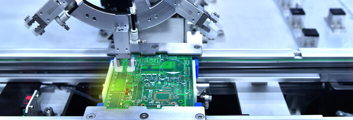 Technological process of soldering and assembly chip components on pcb board. Automated soldering machine inside at industrial,banner side Fotomurales