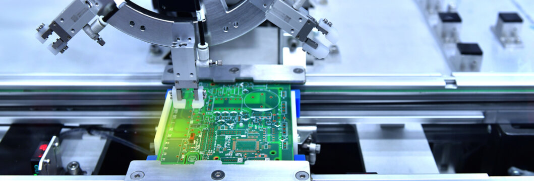 Technological process of soldering and assembly chip components on pcb board. Automated soldering machine inside at industrial,banner side