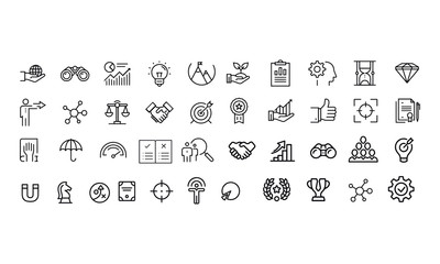 Core Values Icons vector design black and white
