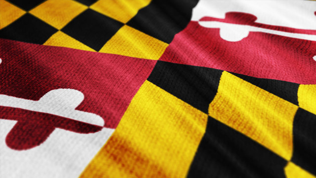 USA State Maryland flag is waving 3D rendering.