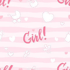 its a girl cute seamless pattern on pink background with doodle elements for newborn, editable vector illustration for kids apparel, fabric, textile, nursery decoration, wrapping paper