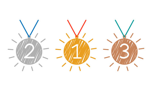 3 winner medals. gold, silver and bronze medals in the style of a hand-drawn outline, brush texture.