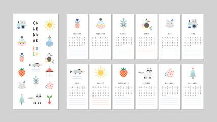 Calendar 2020. Cute printable creative template with fun elements