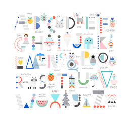 Cute modern and creative alphabet. Letters and words. Learn to read. Isolated.