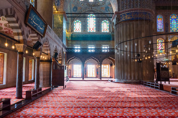 inside interior of blue mosque also known as sultan ahmed. functioning mosque is a popular travel destination