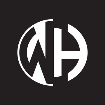 WH Logo monogram with Negative space style design tempate